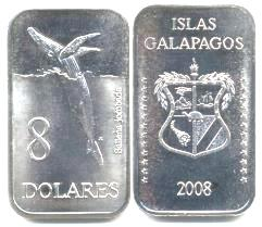 Galapagos rectangular 8 dollar coin picturing a humpback whale