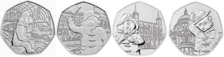 Great Britain Paddington Bear 50 Pence coins: Paddington Bear at Paddington Station, Buckingham Palace, Tower of London, St. Paul's Cathedral
