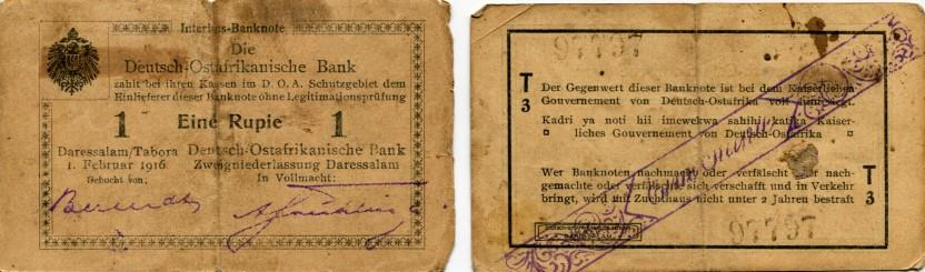 German East Africa 1 Rupia note, 1916