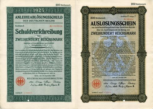 Germany - Weimar Republic 200 Reichsmark 1925 replacement bond