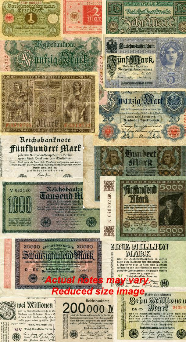 Germany set of 16 banknotes 1 Mark - 10 Million Mark, 1910-1923