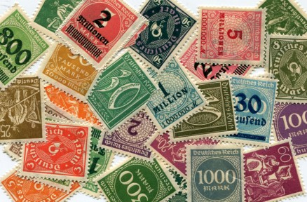 Germany inflation era postage stamps: 10 Pfennig - 5 Million Mark