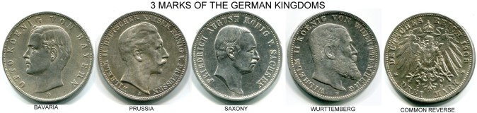 Silver 3 Mark coins of the German Kingdoms: Bavaria, Prussia, Saxony & Wurttemberg