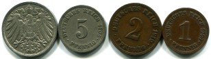 German Empire 1, 2, 5 & 10 Pfennig