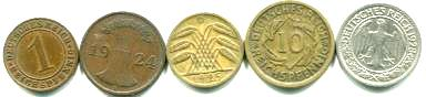 Germany - Weimar Republic 1, 2, 5, 10 & 50 Pfennig (1924-1936)