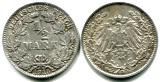 Germany silver 1/2 Mark coin, 1914-1918 KM17