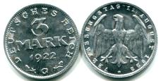Germany aluminum 3 Mark coin, 1922 KM29