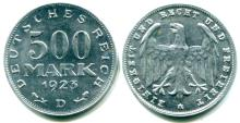 Germany aluminum 500 Mark 1923 KM36