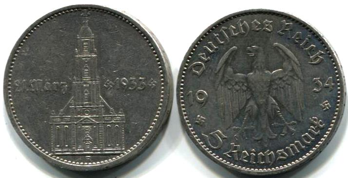 Germany 5 Reichsmark 1934 Church With Date Km82