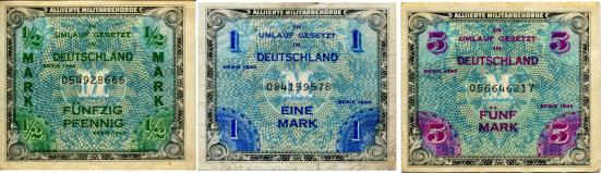 Allied Military Currency for Germany: 1/2, 1 & 5 Marks P191a - P194a