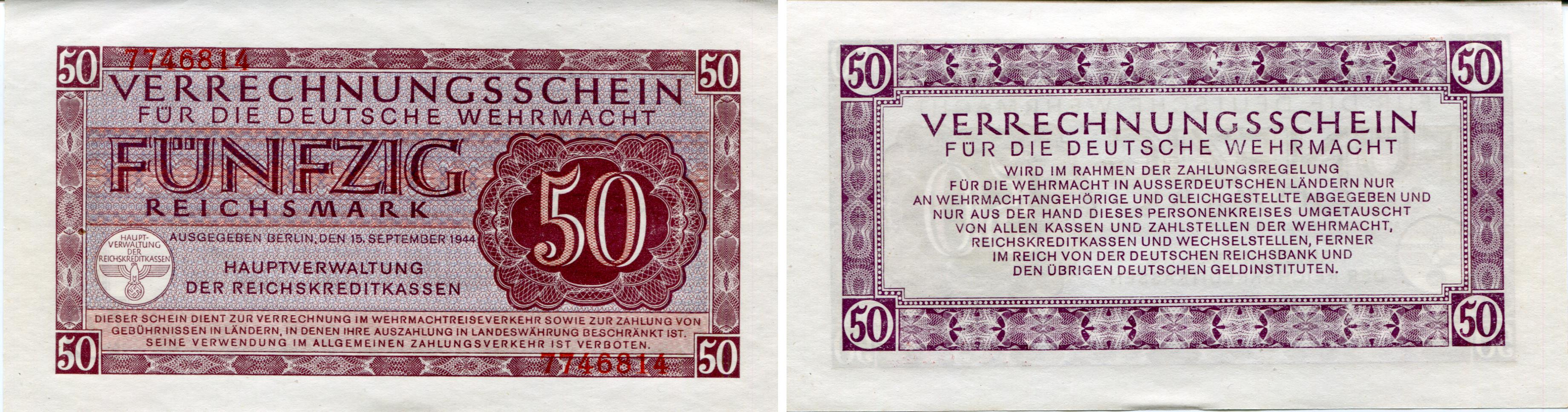World war ii coins and currency german wehrmacht military currency 50 reichsmark 1944 pm41 biocorpaavc Images