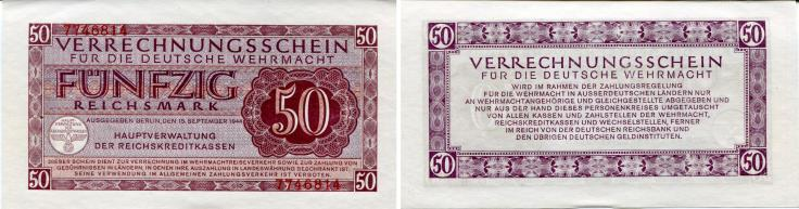German Wehrmacht military currency, 50 Reichsmark 1944 PM41