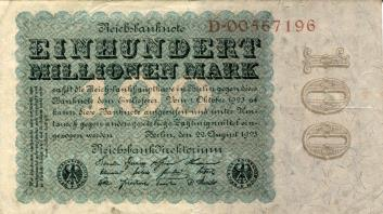 Germany 100 Million Mark banknote, August 22, 1923 P109