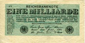 Germany 1,000,000,000 Mark October 20, 1923