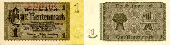 Germany 1 Rentenmark note, 1937 P173