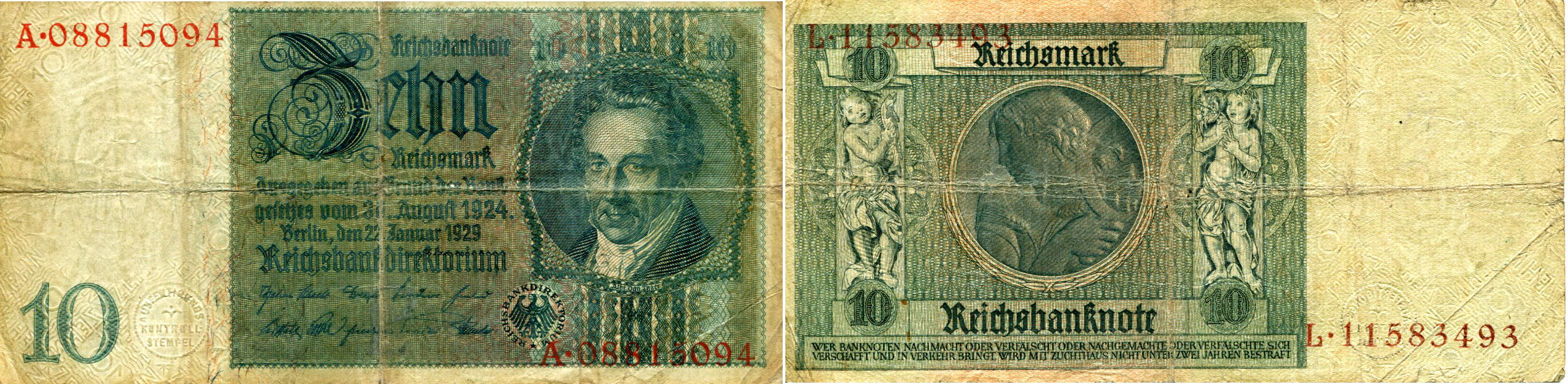 German coins and currency germany 10 reichmark note 1929 p180 buycottarizona
