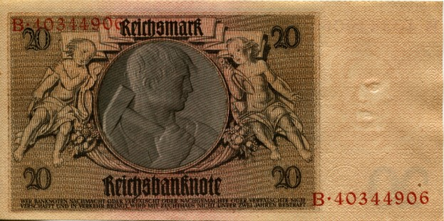 Back of German 20 Reichsmark note