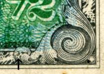 "Detail showing hidden ""F"" mark on German 1/2 Mark Allied Military Currency"
