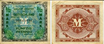 Germany - Allied Military Currency, 1/2 Mark 1944 , P191a U.S. issue with F in scrollwork