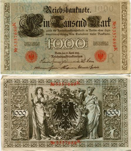 Inmperial German 1000 Mark note 1910