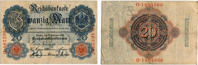 Germany 20 Mark Reichsbanknote note 19.2.1914 P46