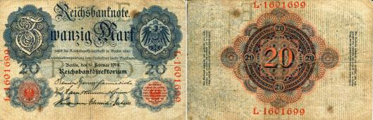 Germany 20 Mark note 1914 P46b