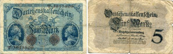 Germany 5 Mark banknote 5.8.1914 P47
