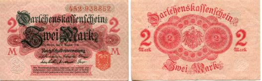 Germany 2 Mark banknote 12.8.1914 P54
