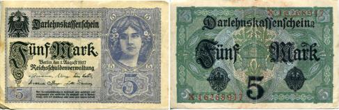 Germany 5 Mark note 1917 P56b