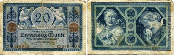 Germany 20 Mark banknote4.11.1915 P63