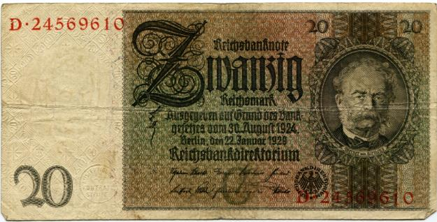Germany 20 Reichsmark banknote
