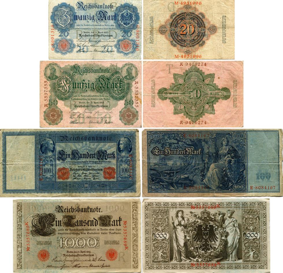 Germany 1910 banknote set: 20, 50, 100 & 1000 Mar, P40, P41, P42, P44k