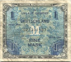 Allied Military 1 Mark note for Occupied Germany, 1944