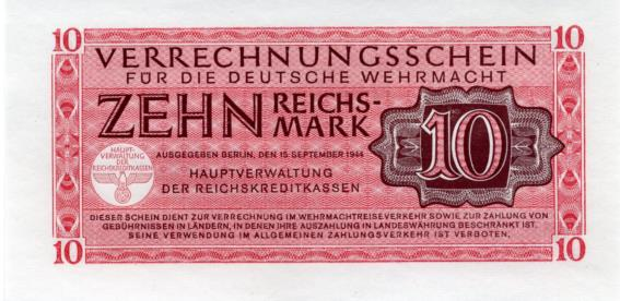 Germany 10 Reichsmark Wehrmacht Military Note, 1944