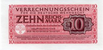 German Wehrmacht military currency, 10 Reichsmark 1944 PM40