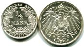 German Empire silver 1/2 & 1 Mark KM17 & KM14