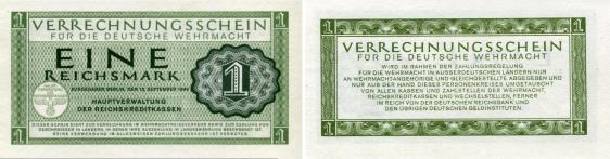 German Wehrmacht military currency, 1 Reichsmark 1944 PM38