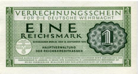 Germany 1 Reichsmark Wehrmacht Military Note, 1944