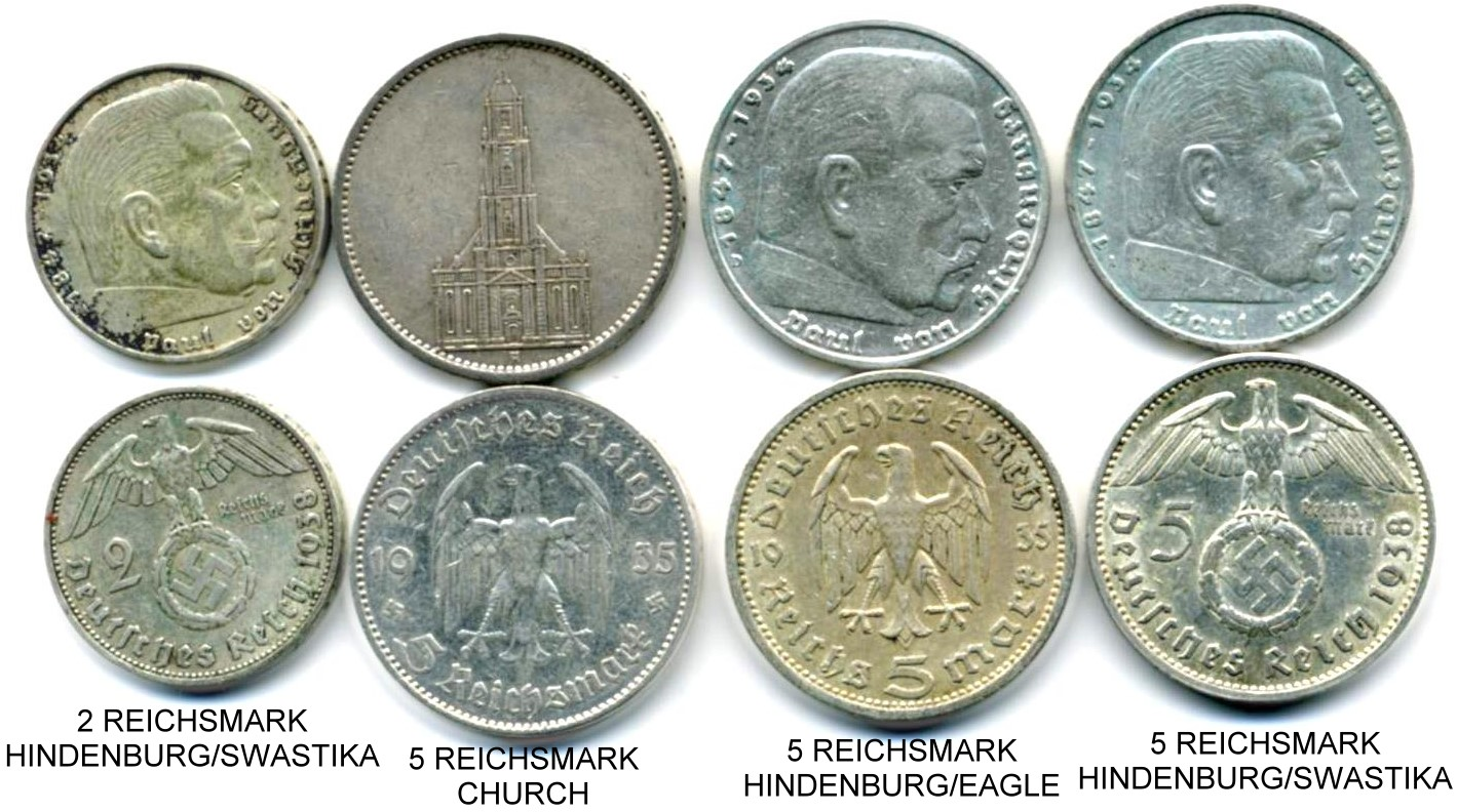 These Four Silver Coins Serve As A Memento Of The Horrors Third Reich 2 Reichsmark Was Issued From 1936 To 1939 It Pictures Paul Von Hindenburg