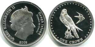 Gough Island 1 Crown coin 2009 KM9 depicting Falcons
