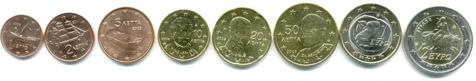 Greece 8 coin euro set