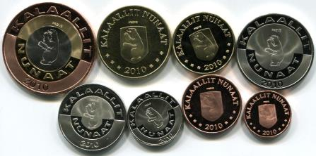 Greenland arms on 2010 Greenland coin set
