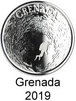 Grenada 1 troy oz. silver 2 Dollar coins 2019 depicting diver in a school of fish
