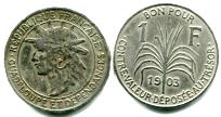 Guadeloupe 1 Franc coin 1903 KM46