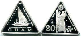 Pièce triangulaire Guam 20 Dollars 2018
