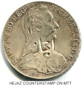 Hejaz counterstamp in Maria Theresa Thaler