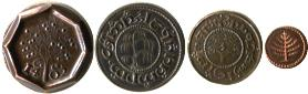 The Hobbit 4 coin set includes thrup'eny, penny, haypenny and farthing