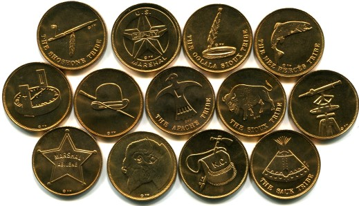 Set of Rugged American Medals struck by Franklin Mint for Husky Oil Company in 1970.