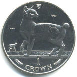 Isle of Man 1993 Japanese Bobtail Cat 1 Crown coin