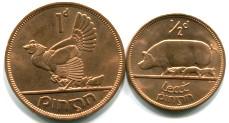 Ireland 1/2 & 1 Penny KM10 & KM11